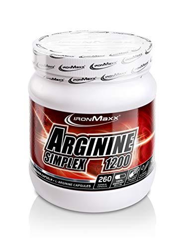 IronMaxx Arginin Simplex 1200 - Sehr hohe Konzentration von L-Arginin Aminosäuren - Ideal für Bodybuilding - Muskelaufbau, Kraftaufbau und Ausdauertraining - Supplement - 260 XXL Kapseln (Tricaps) -