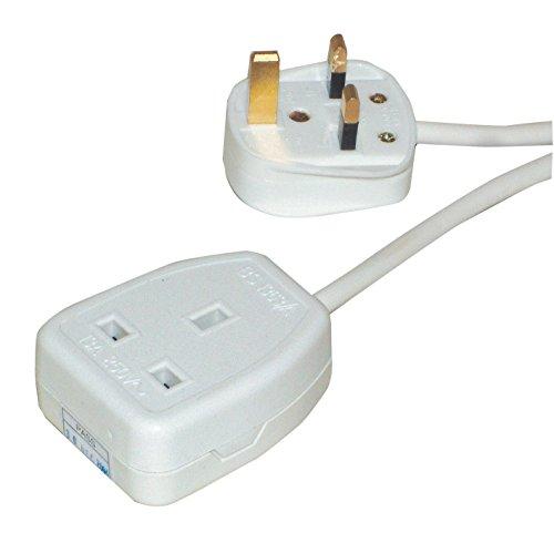 13 AMP 1 Gang, 1 Metri trascinamento Socket Extension / UK di rete Cavo di alimentazione / Colore: Bianco / Pro Elec - 1m Estensione Piombo