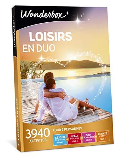 Wonderbox – Coffret cadeau couple - LOISIRS EN DUO – 3940 activités :séjours de charme, balades en pirogue ou en voilier, spectacles pour 2 personnes, sessions de laser gam