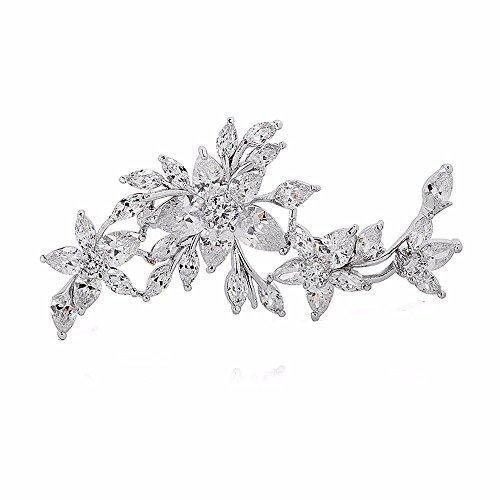 GULICX Modeschmuck Für Braut Klassische Zirkonia CZ Silber-Ton Blumen und Blatt Brosche und Anstecknadel