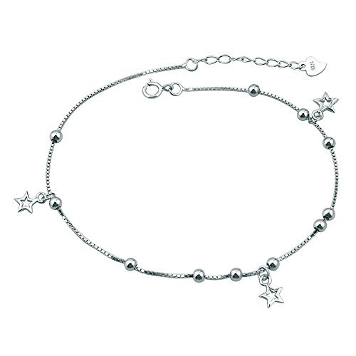 925 Sterling Silver Adjustable Chain Dangle Stars Beads Anklet Ankle Bracelet Gifts by CharmingJewelry