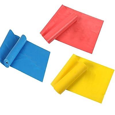 Elastische Bänder Set Suplyss, 1.8m Bänder Übungen, Spiel 3 Fitnessbänder Widerstandsbänder für Yoga Pilates Fitnesstraining, Multicolor