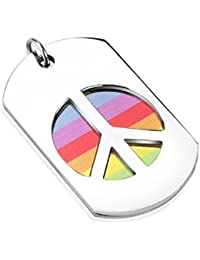 Gay Peace Sign Double Dog Tag Pendant - Stainless Steel with FREE Ball Chain
