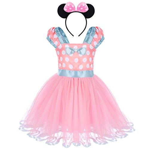 OBEEII Ragazze Vestito Bambina Polka Dots Tutu Principessa Abiti Estivo Senza Maniche Costume per Carnevale Festa Cerimonia Compleanno Comunione Ballerina Prom Fotografia 4 anni Rosa