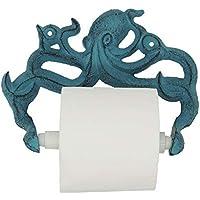 Decorative Cast Iron Octopus Toilet Paper Roll Holder – Wall Mounted Octopus Décor for Bathroom – Kraken, Nautical…