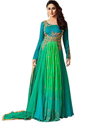 Stylish Fashion Kareen Kapoor Turquoise Embroidered Designer Party Wear salwar suit