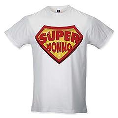 Idea Regalo - Babloo T Shirt Uomo Idea Regalo Festa dei Nonni Super Nonno Bianca M