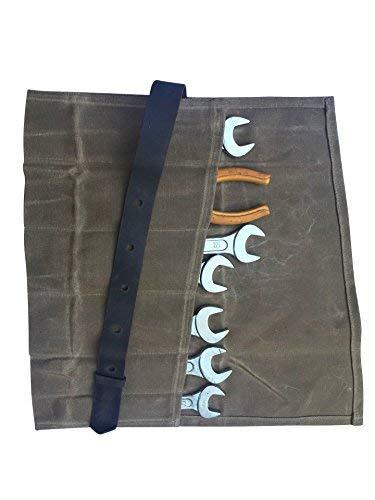 QEES Werkzeugtasche Wasserdichte Handgefertigte Rolltasche (6 Fächer) tragbare Aufbewahrungstasche Für Handwerker Elektriker Maler Künstler (HYGJB21-Braun) Messer Storage Roll