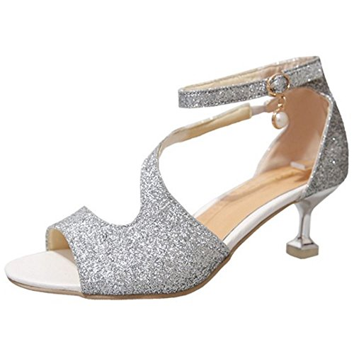 TAOFFEN Damen Elegant Peep-toe Glitter Fesselriemen Schnalle Hochzeit Absatz Sandalen Silber