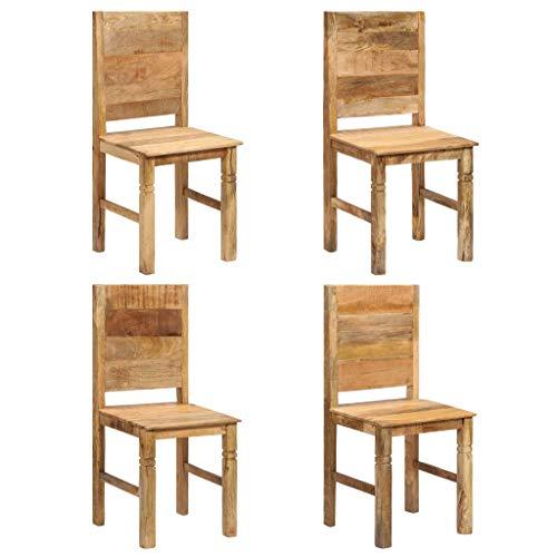 junhaofu Esszimmerstühle 4 STK. Massivholz Mango Möbel Stühle Küchen- und Esszimmerstühle