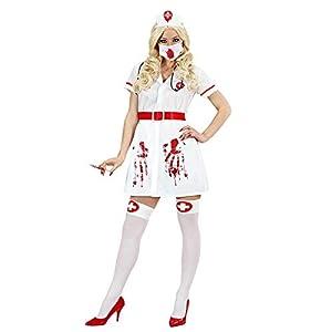WIDMANN 87153 - Traje Adulto Bloody Vestido de Enfermera infectada con el cinturón, Sombrero, máscara y un Estetoscopio, Talla L