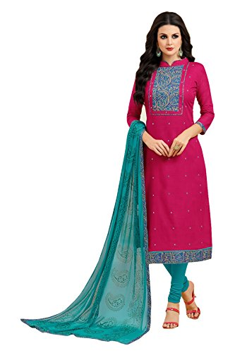 Oomph! Women's Unstitched Cotton Salwar Suit Dupatta Material - Magenta Pink