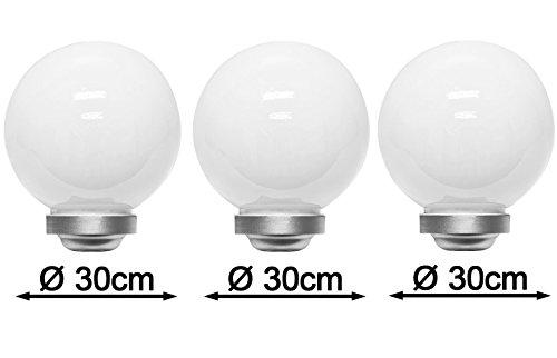 3 x LED Solarkugel Marla Kugelleuchte Solarlampe mit Erdspieß, Durchmesser 30 cm, Gartenlampe Kugelleuchte Dekoration