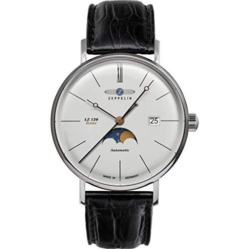 Zeppelin LZ120 - Reloj de Pulsera (Piel), Color Plateado y Negro