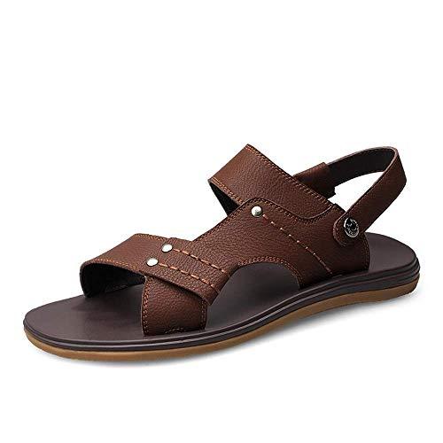Sandale Komfort Atmungsaktive Slip Outdoor Strand Open Toe PU Leder rutschfeste Slipper Herren Sommer Schuhe (Farbe: Braun, Größe: 9,5 UK) Bungee-slip