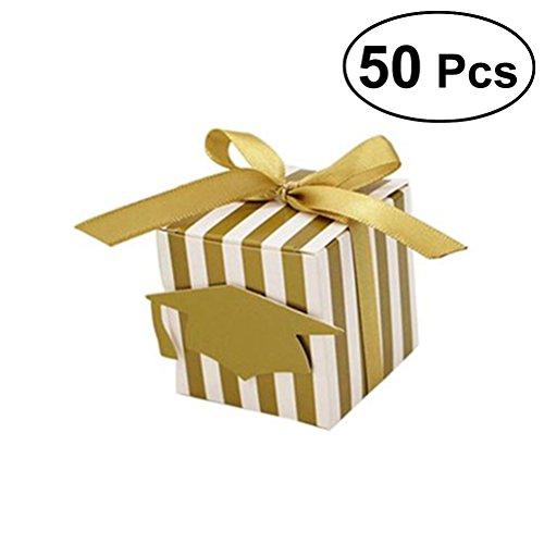TOYANDONA 50 STÜCKE Graduation Cap pralinenschachtel Streifen Papier geschenkboxen Graduation Party Favors (golden) (Graduation Papier Cap)