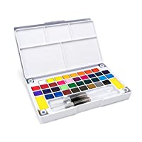 36Color Solid Watercolor Paints Set for Drawing Pigment Water Color With Water Brush Painting Set Art Supplies