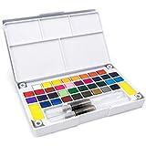 مجموعة الوان مائية بلون موحّد، مكونة من 36 لونًا مع طقم فرش للرسم المائي، لوازم فنية