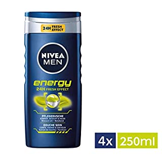NIVEA Men 4er Pack Duschgel für Körper, Gesicht & Haar, 4 x 250 ml Flasche, Energy (B00IYD5QUO)   Amazon Products