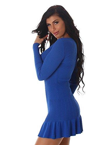 24brands Damen Kleid Feinripp Strickkleid langarm Minikleid mit Volants ausgestellt - 3172 Modell 2 Royalblau