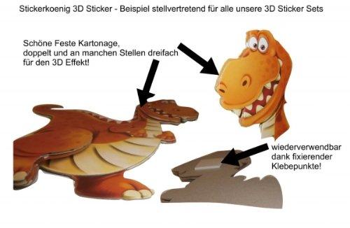 Stickerkoenig Wandtattoo 3D Sticker Wandsticker - niedliche Tiere auf dem Bauernhof Kuh, Pferd, Hund, Hase, Ziege etc #512 Kinderzimmer Deko auch für Wände, Fenster, Schränke, Türen etc auf Bogen - 2