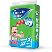 Fine Baby Double Lock, Size 3, Medium, 4-9 kg, Jumbo Pack, 52 Diapers