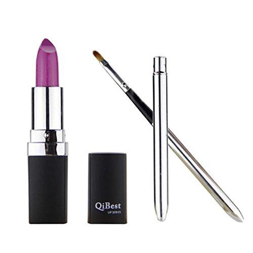 Vovotrade Mode étanche Liquid Makeup Lip Pencil Matte Lipstick Lip Gloss Super Long Lasting + Mini pinceau à lèvres (Lila #7)