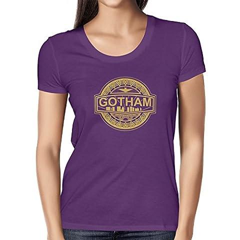 TEXLAB - Gotham Logo - Damen T-Shirt, Größe L, violett (Villain-kostüme Für Frauen)