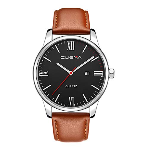 Armbanduhren männer Herrenuhr Herren Luxury Fashion Faux Leather Mens Blue Ray Glass Quartz Analog Watches With CalenArmbanduhr Uhren armbanduh