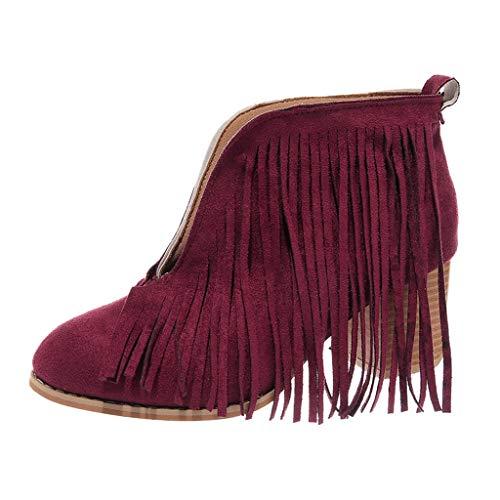 Floweworld Damen Wildleder Stiefel V Eröffnung Knöchel Solide Schuhe mit mittlerem Absatz Fransen Quaste Casual Kurze Stiefel -