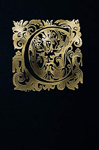 Notebook: Art Nouveau Initial C - Gold on Black - Lined composition Notebook / Diary / Journal - 6