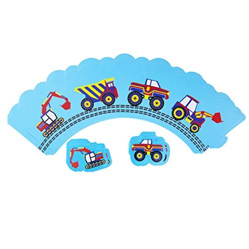 ngineering Car Theme Kuchenverpackungen Kuchen Topper Cartoon DIY Kuchen Dekoration Set Partei Liefert Gefälligkeiten (12 Wrapper + 12 Toppers) ()