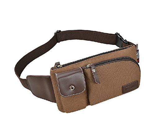 2016Herren Taille Pack Outdoor Sport Tasche Leinwand Casual Messenger Bag coffee - coffee