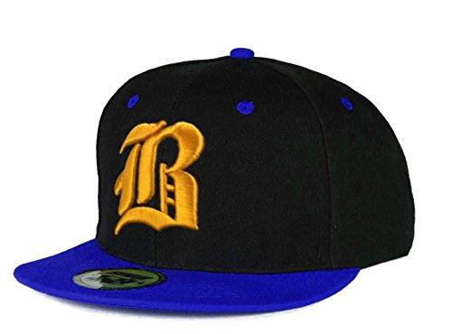 Casquette de Baseball SnapBack Bonnet Cap Chapeau Snap back 3D Gothique B Hip-Hop (B Black Black) B Blue Yellow