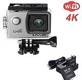 ZIHENGUO SJ4000 WiFi Action-Kamera 2,0-Zoll-LCD-Bildschirm 1080P HD Tauchen 30M Wasserdichte Mini-Camcorder-Sport-DV-Antenne-Camcorder-Fahrrecorder,Silver