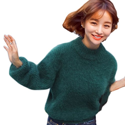 ROPALIA Damen Fuzzy Pullover Strickjacke High Neck Warme Sweatshirt
