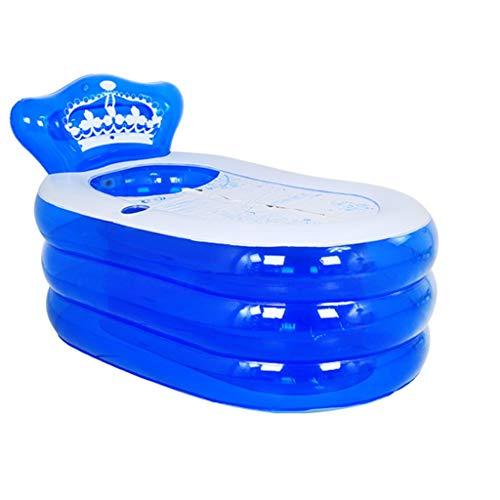 Relaxbx Aufblasbare Badewanne Erwachsene Badewanne Faltbare Badewanne Kinder Baden im Becken Badewanne Kunststoff-Badefässer (Farbe: Blau, Größe: 160 * 90 * 75 cm)