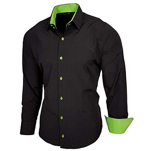 Herren-langarm-haut-anzug (Baxboy Herren-Hemd Slim-Fit Bügelleicht Für Anzug, Business, Hochzeit, Freizeit - Langarm Hemden für Männer Langarmhemd R-44, Größe:S, Farbe:Schwarz/Grün)