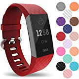 Yousave Accessories® Fitbit Charge 3 Armband, Silikon Ersatzarmband für Fitbit Charge3 Fitness Tracker, Sport Schrittzähler Armband, Fitbit Charge 3 Armbänder - Klein - Rot
