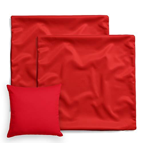 Bett Bettwäsche Kissen (amato Home Kissenbezüge Doppelpack 2er Set Bettwäsche Kopfkissen-Bezüge Kissenhüllen Kissenbezug Kissen Sofakissen Bett Deko Rot 80x80 cm 100% Baumwolle Cotton Kinderbettwäsche (80 x 80 cm, Rot))