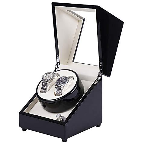 GUOSJ Automatische Doppel-Uhrenbeweger-Box für mechanische Uhren mit leisem Motoradapter oder Batteriebetrieb für 2 Herren- oder Damenuhren, schwarz