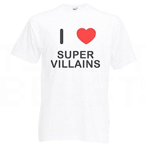 I Love Super Villains - T-Shirt Weiß