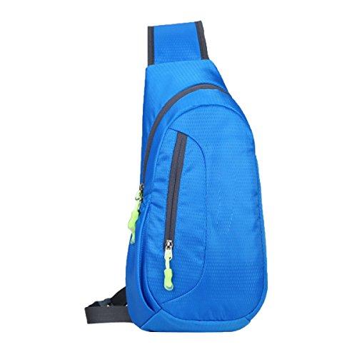 CHENGYUXUAN Sella Borsa Sportiva Trekking Zaino Impermeabile Sport Tempo Libero All'aria Aperta Messenger Bag Petto,RoseRed Blue