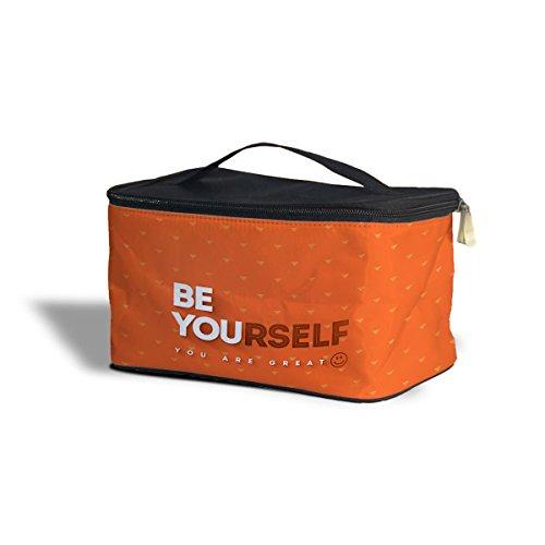 Be Yourself Citation de motivation cosmétiques maquillage étui de rangement – Fermeture éclair sac de voyage, Orange, One Size Cosmetics Storage Case