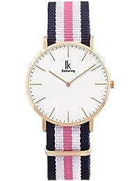 Alienwork Reloj cuarzo Ultra-delgada relojes mujer hombre Diseño intemporal Nylon oro rosa azul U04818L-02