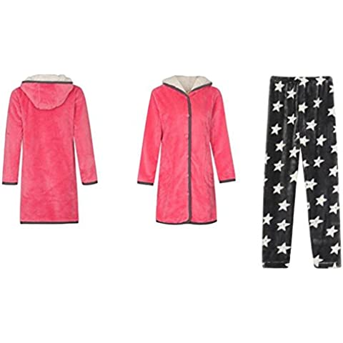GJX Trajes de invierno señoras gruesa servicio con capucha chaqueta pijama largo Coral hogar y pijamas Qutumn , red , l