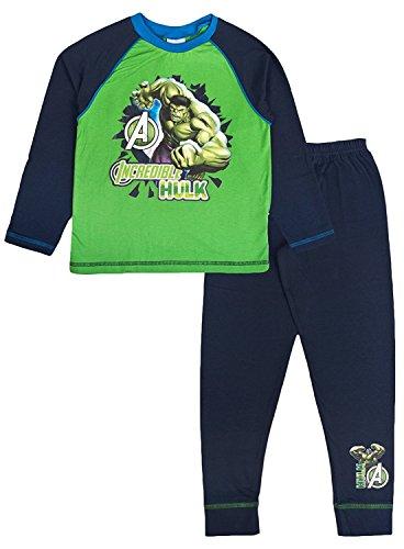 Marvel Jungen Schlafanzug, Figur Avengers - Earth's Mightiest Heroes Gr. 7-8 Jahre, Incredible Hulk - Green Top