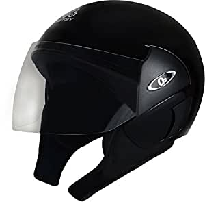 Autofy O2 Pearl DLX Open Face Helmet With Tinted Visor (Black,M)