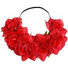 Kanggest 1 Piezas Diadema de Flores Mujer Venda de Pelo Alta Elasticidad Rosas y Hoja Cinta de Pelo Banda Para la Cabeza Para Adornos Para el Pelo Boda(Rojo)