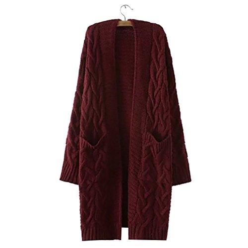 CHENGYANG Femme Long Cardigan en Maille Manches Longues Gilets Tricot Chandail Cardigans (Vin Rouge)